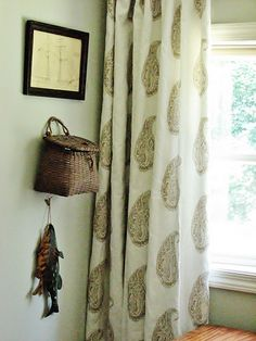 """Lauren Liess Pure Style Home.  Fabric line launches soon.  This is """"Live Paisely"""" linen in antique beige.  I think I need these!"""