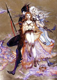 Concept art by Yoshitaka Amano of Kain, Rosa, and Cecil from Final Fantasy IV, released by Squaresoft in 1991 for the Super Nintendo Entertainment System Final Fantasy Collection, Final Fantasy Iv, Final Fantasy Artwork, Fantasy Series, Fantasy World, Yoshitaka Amano, Fan Art, Japanese Artists, Cultura Pop