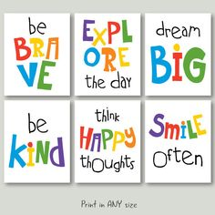 motivational quotes for kids download playroom quote poster wall art decor jpg pdf primary bright colors printable digital instant download by SunnyRainFactory on Etsy https://www.etsy.com/listing/271355872/motivational-quotes-for-kids-download