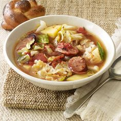 Recipe contributor Holly Ashmore came up with this recipe for Hearty Sausage Soup to introduce her kids to cabbage, and now it's a favorite. Shave calories from the soup by substituting turkey sausage for beef sausage. Soup Recipes, Cooking Recipes, Gumbo Recipes, Sausage Recipes, Cajun Recipes, Sausage Stew, Turkey Sausage, Chicken Sausage, Kitchens