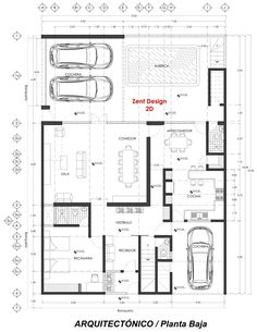Architectural House Plans, Ad Home, Modern House Plans, Home Design Plans, Architecture Plan, House Layouts, Dom, My Dream Home, Townhouse