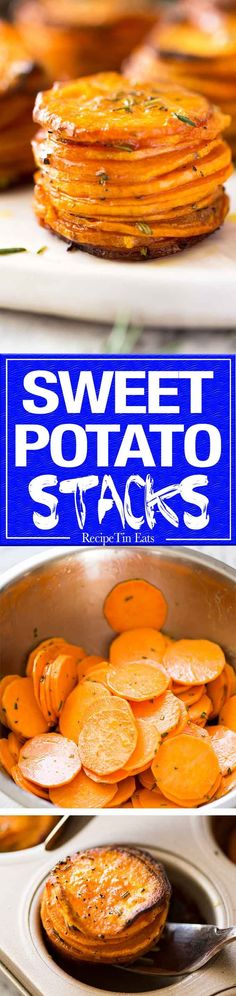 These Roasted Sweet Potato Stacks have crispy edges, are buttery, salty and sweet with a hint of rosemary. Terrific Sweet Potato side dish! www.recipetineats.com