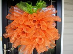 Mesh Pumpkin Wreath. This one is on etsy, but I could probably figure out how to make it. Very cute.