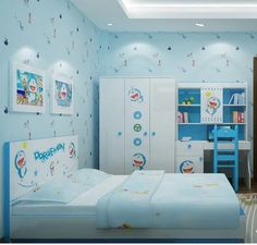 awesome Attractive Kids Bedroom Design Ideas With Doraemon Themes Kids Bedroom Designs, Bedroom Bed Design, Kids Room Design, Bedroom Art, Doraemon, Trendy Bedroom, Girls Bedroom, Bedrooms, Bedroom Furniture Makeover