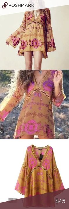 """""""Free people """" styled tunic Not for """"For love and lemon"""", listed only for exposure. Super chic and quality. Size S bust: 33, length: 29.9, across shoulder: 14.1, Size M bust: 34 length: 30,5  across shoulder: 14.5, Size L bust: 35 length: 30.7  shoulder: 14.9. Lined, material: rayon and silk blend. No stretch. Boutique  Tops Tunics"""