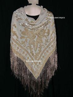 5db8bcc0bf40 Details about Beige Silk Burnout Velvet Piano Shawl Fringe Wrap Scarf Hand  Dyed Maya Matazaro
