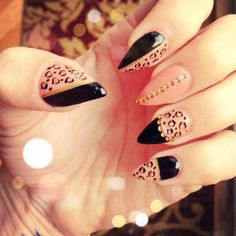 If you want to try something new, something interesting for your nails then is time to try pointed nails. Pointed nails are very popular with the Pink Stiletto Nails, Cheetah Nails, Pointy Nails, Black Nails, Claw Nails Designs, Nail Designs, Get Nails, Love Nails, Casual Nails