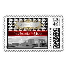 Brooklyn Bridge Blk Wht Houndstooth Thank You Stamps