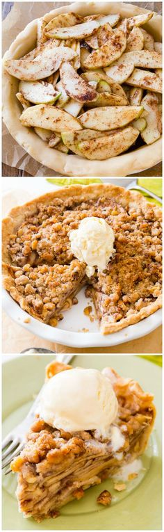 Apple Crumble Pie for fall baking-- grab this indulgently delicious recipe on sallysbakingaddiction.com