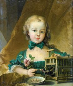 Portrait of Alexandrine Le Normant d'Étiolles, Playing with a Goldfinch - Attributed to François Boucher - 1749
