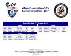 City AFL 9's Summer Competition Week 2 Fixtures #CityAFL9s 