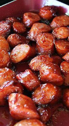 BBQ Smoked Sausage Bites sausage and veggies;recipes with sausage dinner;spaghetti with sausage;orrechiette with sausage; Smoked Sausage Recipes, Sausage Appetizers, Sausage Crockpot, Appetizer Recipes, Dinner Recipes, Sausage Pasta, Kielbasa Sausage, Recipes With Eckrich Sausage, Recipes With Sausage Links