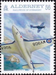 Details of Alderney stamp of Naval Aviation issue, multicolored, naval aircraft design type, Hawker Seahawk design (id Aviation World, Aviation Art, Bailiwick Of Guernsey, Old Stamps, Aircraft Painting, Stamp Catalogue, Aircraft Design, Stamp Collecting, Postage Stamps