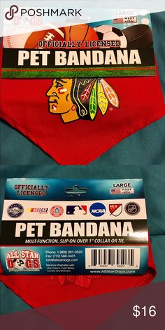 """Chicago Blackhawks NHL Dog Pet Bandana Large Chicago Blackhawks  Dog Bandana  Cotton Shirting pet bandana with silk-screened team graphic. Traditionally tied or with a collar run through the opening.  Sizes: Small – 22"""", Large – 30""""  Officially licensed product.  Made in the USA   Brand:All Star Dogs  Price is firm!! Lowball offers will be ignored. If you would like to bundle items, feel free to contact me.   #blackhawks #allstardogs #nhl #madeinusa #licensed #hockey #dogbandana…"""