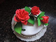 adorno de tarta rosas goma eva