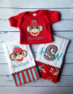 Items similar to Monogrammed & Appliquéd Boy Sock Monkey Baby Set on Etsy Source by sets clothes Embroidery Boutique, Baby Embroidery, Machine Embroidery, Embroidery Ideas, Sock Monkey Nursery, Sock Monkey Baby, Baby Burp Cloths, Baby Bibs, Toddler Room Decor