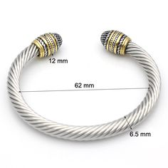 Fashion Twisted Cable Bracelet Stainless Steel Silver & Gold Charm Open Cuff Bangle Cable Wire Bracelet Pulseras Jewelry