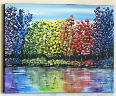 Your place to buy and sell all things handmade Acrylic Canvas, Acrylic Paintings, Your Paintings, The Art Sherpa, Tree Wall Art, Rainbow Colors, Art Pieces, Trees, Hand Painted
