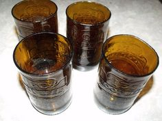 Recycled Rootbeer Soda Bottle Tumbers set of 4 by FireAntDesign, $20.00