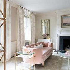 Pink Velvet Curved Sofa with Brass Tiered End Tables