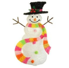 RAZ Candy Sprinkles 30 inch Lighted Snowman with Candy Colored Scarf shelleybhomeandholiday.com