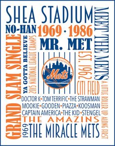 New York Mets Print, Poster, Subway Art, National League Champs, great gift for any Mets fan, available in Canvas and other sizes and teams