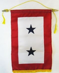 Service Banner - TWO star satin 8 in. by 12 in. Blue Star by flagline. $18.07. 8x15 in. Nyl-Glo nylon Service Flag (two star). Stars are Appliqued. Nylon Service Flag made with Appliqued Stars and Gold Fringe! Made in the USA! Two Stars