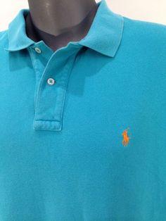 "RALPH LAUREN POLO Aqua Blue Green shirt sz XL Up To 50"" Chest 100% cotton #PoloRalphLauren #PoloRugby"