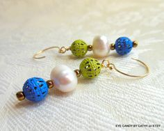 Blue green and white earrings white freshwater by EyeCandybyCathy on ETSY, $17.50