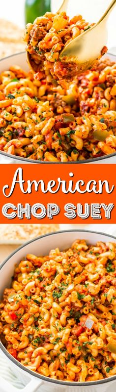 American Chop Suey is a delicious dinner recipe made with ground beef, tomato, onion, green pepper, macaroni, and spices. Pure comfort food made on the stovetop in less than 30 minutes. via @sugarandsoulco