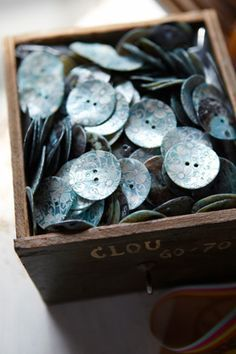 Outdoors beneath the moon and stars: button box Button Art, Button Crafts, French Bleu, Sewing Notions, Haberdashery, Vintage Buttons, Shades Of Blue, Vintage Sewing, Favorite Color