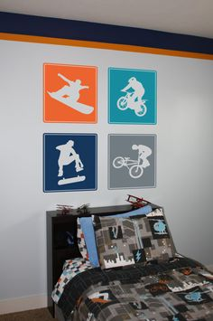Items similar to Extreme Sports- BMX, Dirt Biker, Snowboarder, and Skater Vinyl Wall Decals on Etsy Snowboard Bedroom, Sports Bedding, Boys Bedroom Decor, Bedroom Ideas, Bedroom Loft, Extreme Sports, Cool Rooms, Beautiful Bedrooms, Home Interior