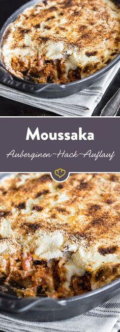Die griechische Antwort auf italienische Lasagne: Zum Hackfleischragout und Béchamel gibt's bei diesem Rezept Auberginenscheiben statt Nudeln und Brösel satt Käse.