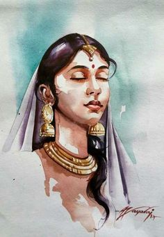 Trendy watercolor art face to draw 20 ideas Watercolor Art Face, Watercolor Portraits, Watercolor Paintings, Digital Paintings, Watercolor Pencils, Watercolor Galaxy, Indian Women Painting, Indian Art Paintings, Animal Drawings