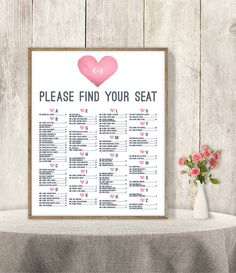 10% OFF with coupon code PIN10 ~ Alphabetical Seating Chart Sign DIY // Pink by JadeForestDesign