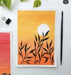 Easy Canvas Art, Simple Canvas Paintings, Small Canvas Art, Mini Canvas Art, Watercolor Art Lessons, Watercolour, Watercolor Paintings, Art Drawings Beautiful, Cool Art Drawings