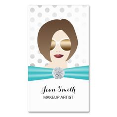 Makeup Artist Girl & Diamond Modern Silver Dots Double-Sided Standard Business Cards (Pack Of 100)