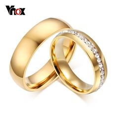 18K Gold Plated Wedding Bands Rings for Women Men Jewelry New 6MM Stainless Steel Engagement Ring US Size 5 to 13