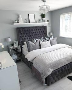 Shelf Decor Bedroom Above Bed Grey Bedroom Design, Grey Bedroom Decor, Room Ideas Bedroom, Modern Bedroom, Silver And Grey Bedroom, Decor Room, Contemporary Bedroom, Apartment Master Bedroom, Home Bedroom