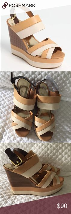 """Coach Wedge Gaile Camel BRAND NEW, NEVER WORN Coach wedges. Bold bands of color reinvent a cross-strap sandal set atop a stacked, striped wedge. Adjustable strap with buckle closure. Approx. heel height: 5 1/4"""" with 1 3/4"""" platform (comparable to a 3 1/2"""" heel). Leather or suede upper/leather lining/rubber sole. By COACH                                                                               Currently sold out at Nordstrom. Just saw them on eBay and selling for $122 brand new!!! Coach…"""