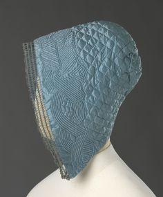 Coif: ca. 1720-1750, Norwegian, silk satin, embroidered with silk thread.