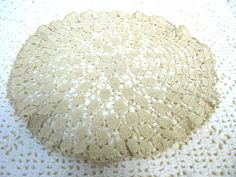 Two Beige Doilies - Two Crochet Doilies - 1960s Home - Hand Crocheted Doily - Vintage Doilies - Dressing Table Mat - Neutral Doilies by MissieMooVintageRoom on Etsy