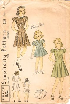 Vintage 1930s Simplicity 3211 Girls Princess Dress and Panties Sewing Pattern Sz 6 di NostalgieVintage su Etsy https://www.etsy.com/it/listing/228314538/darling-vintage-1930s-simplicity-3211