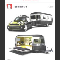A collaboration between MINI, Airstream trailers and Danish furniture designers Republic of Fritz Hansen has resulted in this hip, beach-ready design study made up of a modified MINI Cooper S Clubman and a customized long Airstream trailer. Kombi Motorhome, Camper Trailers, Mini Travel Trailers, Arne Jacobsen, Cool Campers, Happy Campers, Vw Camping, Airstream Camping, Materiel Camping