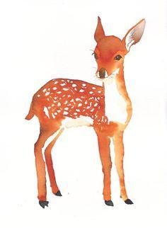 DEER baby bambi illustration illustration print by Mydrops on Etsy