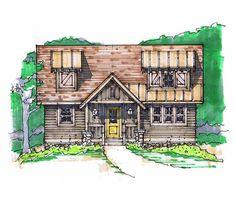 Pea Pod Front Elevation -- Natural Element Homes 1,009 sf