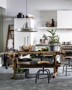 Like These Industrial DecorDesigns? Visit Us For More Industrial Kitchen Inspirations Industrial Kitchen Design, Rustic Kitchen, Interior Design Kitchen, Interior Decorating, Rustic Industrial, Industrial Kitchens, Kitchen Designs, Rustic Farmhouse, Vintage Kitchen
