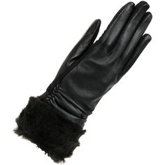 Women's Wilsons Leather Touch Point Glove w/Faux Fur Cuff and... ($35) ❤ liked on Polyvore featuring accessories, gloves, lined gloves, faux fur gloves, cat gloves, wilsons leather e palm gloves