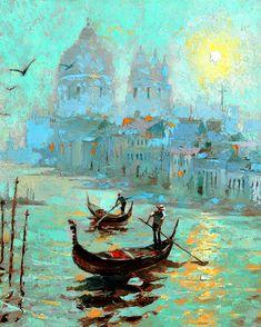 Fog Morning in Venice  OIL PALETTE KNIFE Painting on by spirosart