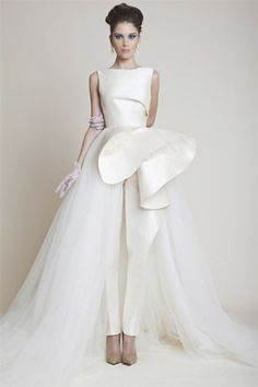 aaf44d5c070e white bridal pantsuit with tulle over skirt - brides of adelaide Peplum  Prom Dresses